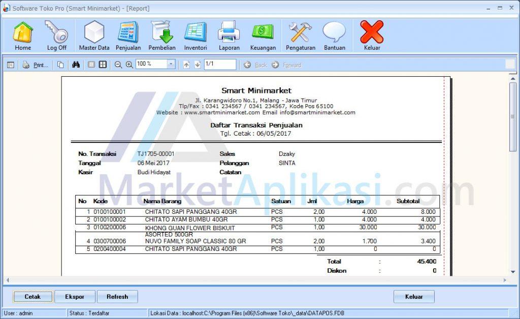 Laporan Penjualan Software Toko