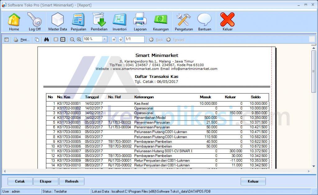 Laporan Kas Software Toko